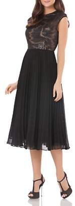 Carmen Marc Valvo Sequined Bodice Dress