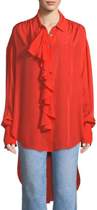 Cinq à Sept Rosalie Ruffled Button-Front Long-Sleeve High-Low Twill Top