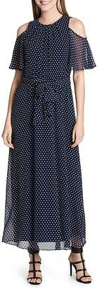 Calvin Klein Dot-Print Cold-Shoulder Maxi Dress