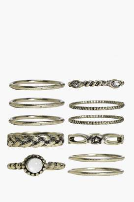boohoo Isabelle Skinny Mixed Design Ring Pack