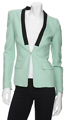 A.l.c. Mint Blazer With Black Contrast Lapels