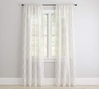Pottery Barn Reeta Print Sheer Curtain - Gray