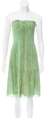 Akris Printed Strapless Dress