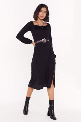 Nasty Gal Womens You'Ve Got To Ad-Slit Square Neck Midi Dress - Black - 6