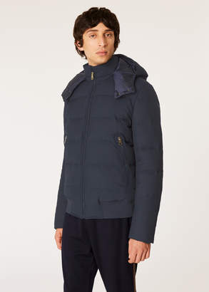 Paul Smith Men's Loro Piana Rain System Navy Down-Filled Jacket With Gradient 'Artist Stripe' Lining