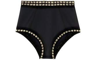 Kiini 'ChaCha' metallic crochet trim high waist bikini bottoms