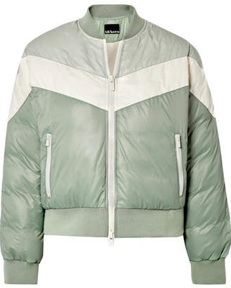 All Access - Tour Color-block Quilted Shell Down Bomber Jacket - Gray green