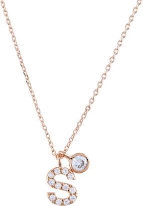 Accessorize Rose Gold Diamante Inital S Pendant Necklace