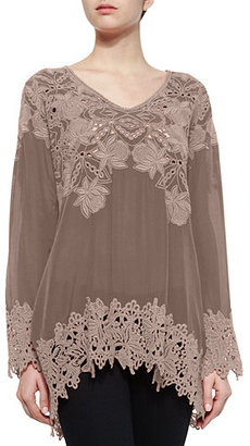 Johnny Was Lacy V-Neck Georgette Tunic, Plus Size $290 thestylecure.com