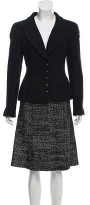 Chanel Tweed Knee-Length Skirt Suit Black Tweed Knee-Length Skirt Suit