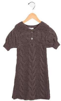 Marie Chantal Girls' Cable Knit Short Sleeve Dress