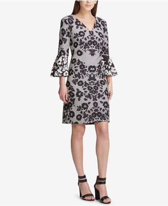 DKNY Bell-Sleeve Printed Dress
