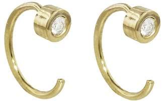 Melissa Joy Manning White Diamond Hug Hoop Earrings - Yellow Gold