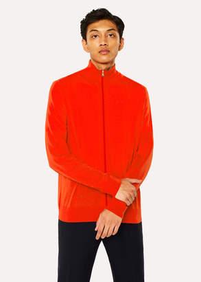 Paul Smith Men's Red Funnel Neck Merino Wool Zip Cardigan