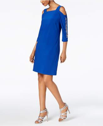 MSK Imitation-Pearl Cold-Shoulder Dress