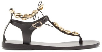 Ancient Greek Sandals Chrysso Shell Embellished Leather Sandals - Womens - Black