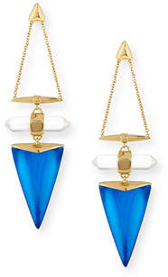 Alexis Bittar Faceted Rock Crystal Triangle Drop Earrings $245 thestylecure.com