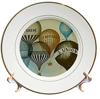 3dRose Vintage French Hot Air Balloons, Porcelain Plate, 8-inch