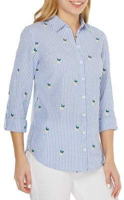Dorothy Perkins Striped Embroidered Button-Front Shirt