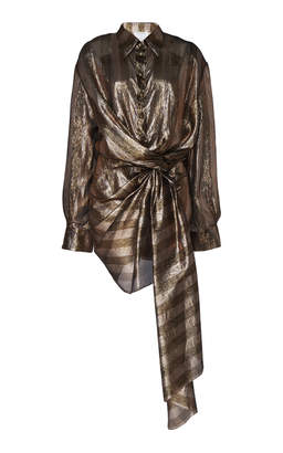 Oscar de la Renta Drape Front Metallic Mini Shirt Dress