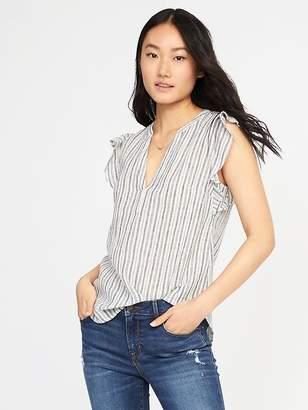 Old Navy Sleeveless Ruffle-Trim Linen-Blend Top for Women