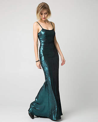 Le Château Sequin Square Neck Slip Gown