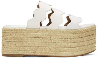 Chloé White Lauren Flatform Sandals