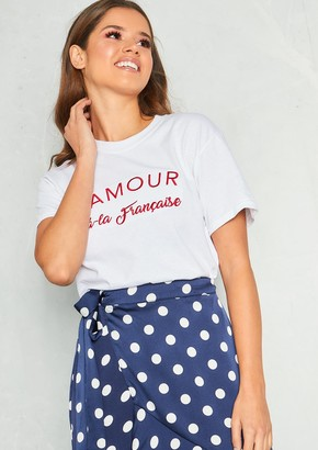 fdfdb25f Missy Empire Missyempire Faith White Red Amour A-La Francais Slogan T-Shirt