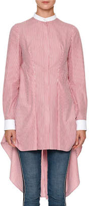 Alexander McQueen Mandarin-Collar Striped-Shirting High-Low Draped-Back Blouse