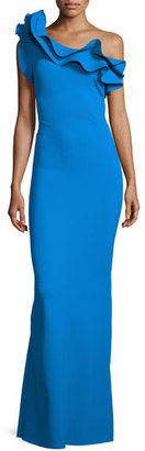 La Petite Robe di Chiara Boni Elise One-Shoulder Ruffle Stretch Jersey Gown, Blue $1,090 thestylecure.com