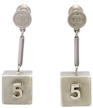 Chanel Silver Tone Metal No. 5 Cube Dangle Metallic Stud Earrings