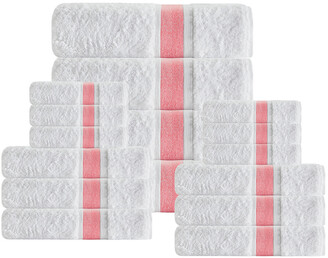 Enchante Unique 16Pcs Salmon Stripe Towel Set