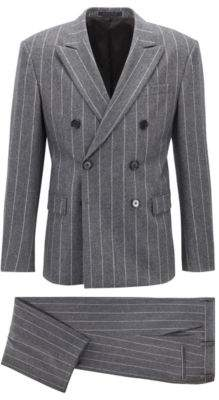 BOSS Hugo Fashion Show Capsule relaxed-fit double-breasted suit 36R Grey
