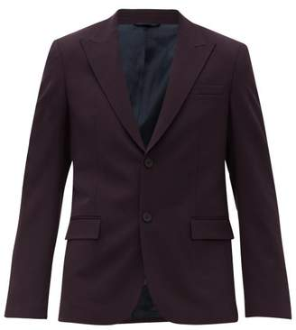 Joseph Cannes Single Breasted Twill Suit Jacket - Mens - Burgundy