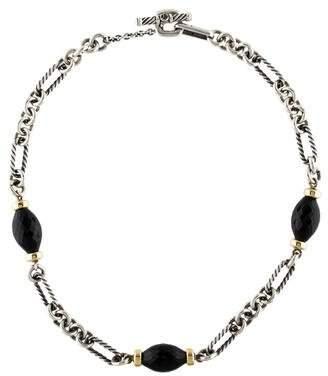 David Yurman Onyx Figaro Chain Necklace