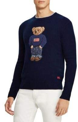 Ralph Lauren Purple Label Cashmere Flag Bear Sweater