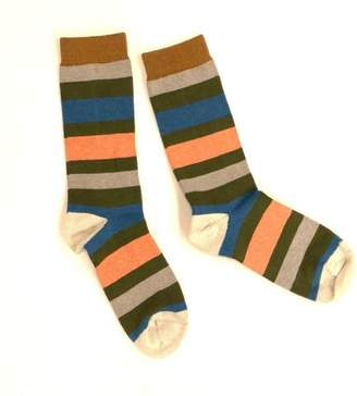 Blade + Blue Light Grey, Olive Green, Aqua & Pink Multi Stripe Socks