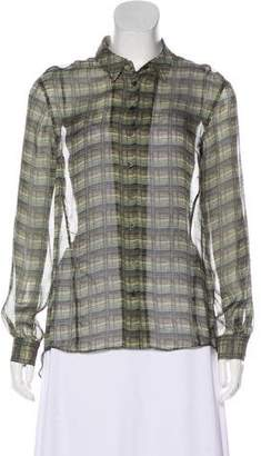 Theyskens' Theory Silk Geometric Print Blouse