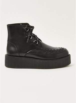Topman Mens Black Wedge Platform Boots