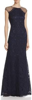 Tadashi Shoji Mesh Detail Lace Gown $548 thestylecure.com