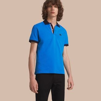 Burberry Two-tone Check Placket Cotton Piqué Polo Shirt $195 thestylecure.com