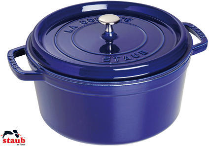 Staub Dark Blue Round Cocotte, 13.25 Qt