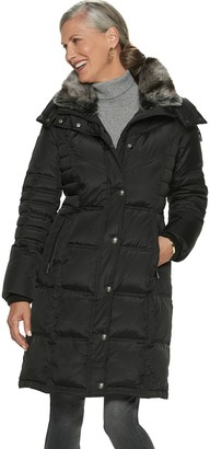 12589a409fd London Fog Tower By Women s TOWER by Faux-Fur Collar Down Puffer Coat