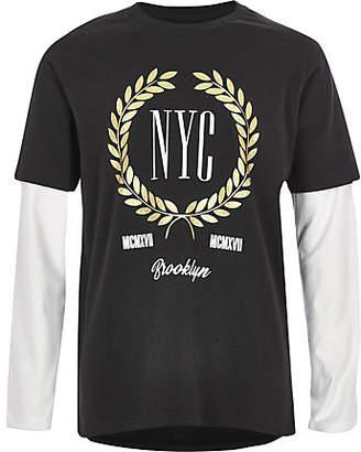 River Island Boys black 'NYC' double sleeve T-shirt