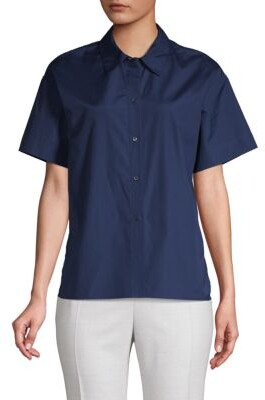 Vince High-Low Cotton Button-Down Shirt