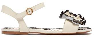 See by Chloe Floral Applique Leather Sandals - Womens - White Black