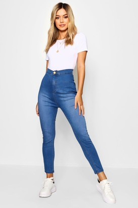 boohoo Petite High Rise One Button Skinny Jeans