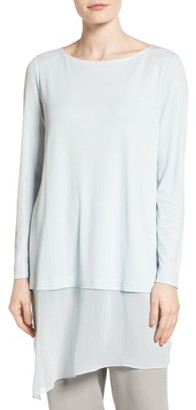 Women's Eileen Fisher Silk Jersey & Chiffon Tunic $268 thestylecure.com