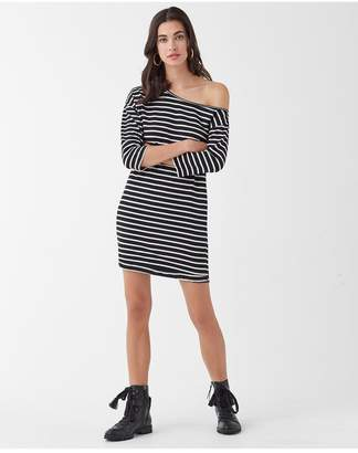 Splendid Super Soft French Terry Neptune Stripe Off Shoulder Dress