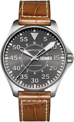 Hamilton Khaki Aviation Automatic Leather Strap Watch, 46mm